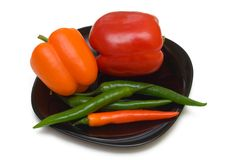 bell black chilli peppers plate Arkivfoto