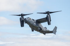 Bell Boeing V-22 Osprey. The Bell Boeing V-22 Osprey is an American multi-mission, tiltrotor military aircraft with both vertical takeoff and landing, and short Stock Photo