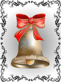 Bell with bow. In openwork frame Royalty Free Stock Photos