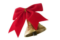 Bell and bow. Christmas bell and bow. Isolated on a vhite background Royalty Free Stock Photo