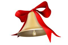 Bell and bow. Photorealistic 3D rendered bell and bow for holiday decorations Vector Illustration