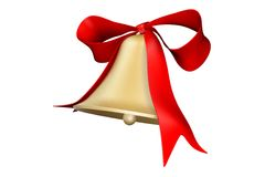 Bell and bow. Photorealistic 3D rendered bell and bow for holiday decorations Stock Illustration