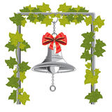 Bell with bow hung on chain Stock Images