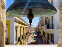 Bell in Campeche. Mexico with the city out of focus in the background royalty free stock photography