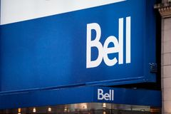 Bell Canada logo in front of their local shop in downtown Montreal, Quebec. Bell is one of the biggest telecommunications company stock images