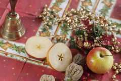 Bell and christmas arrangement on a table Stock Image