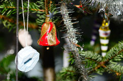 Bell on christmas tree Royalty Free Stock Images