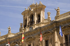 Bell and clock on Plaza Mayor of Salamanca,Spain Stock Images