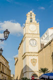 Bell and clock tower of Sant'Agata Cathedral, Gallipoli, Italy Royalty Free Stock Photography