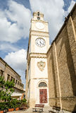 Bell and clock tower of Sant'Agata Cathedral, Gallipoli, Italy Stock Image