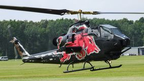 Bell Cobra TAH-1F of The Flying Bulls taking off in Goraszka in Poland. Military helicopter Bell Cobra TAH-1F of The Flying Bulls taking off in Goraszka airfield Stock Images