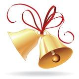 Bell d'or pour Noël ou le mariage avec la proue rouge Photos stock