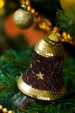 Bell decoration on Christmas tree Stock Image