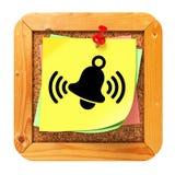 Bell di squillo - autoadesivo giallo sul forum. Immagine Stock