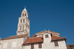 Bell of Diocletian`s Palace. Cathedral of Saint Domnius public. Famous landmark over blue sky, Split, Croatia Royalty Free Stock Photo