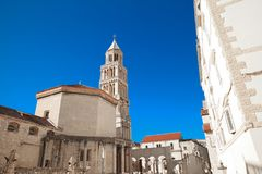 Bell of Diocletian`s Palace. Cathedral of Saint Domnius public l. Andmark over blue sky, Split, Croatia Stock Image