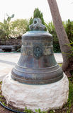Bell donated by parishioners in courtyard of Greek Orthodox mona Royalty Free Stock Photo