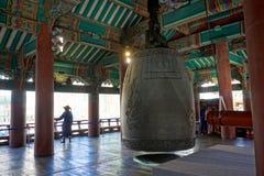 Bell en el templo de Hwagyesa en Seul Imagen de archivo libre de regalías