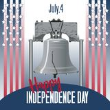 Bell and flag america symbol of America s independence. American Independence Day. stock illustration