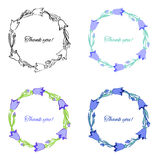 Bell flower isolated on white background, hand drawn doodle wreath, Collection round frame with space for text,Vector Royalty Free Stock Image