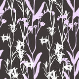 Bell flower meadow graphic , pattern seamless. White bell flower meadow graphic  monochrome pattern seamless  gray background  handmade Royalty Free Stock Images