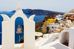 Bell in a glimpse of Oia Royalty Free Stock Photo