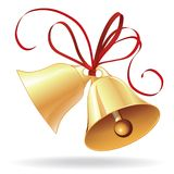 Bell golden for  Christmas or wedding with red bow. Icon, element for design Stock Photos