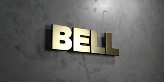 Bell - Goldzeichen angebracht an der glatten Marmorwand - 3D übertrug freie Illustration der Abgabe auf Lager Lizenzfreies Stockfoto