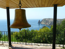 The bell hanging in the gazebo Stock Photo