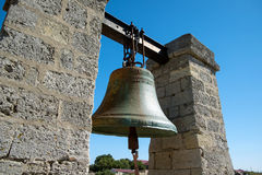 The bell hangs between two columns Royalty Free Stock Image