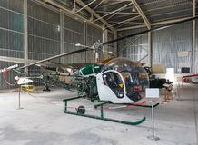 Bell 47 Helicopter in hangar Royalty Free Stock Photography