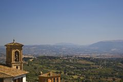Bell, hills and countryside perugia Stock Photos
