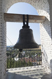 Bell with the inscription `Equal Apostles a great Prince Vladimir` on the bell tower of the Church of the Entry of the Lord into J Stock Images