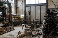 Bell manufacturing little factory indoor view, metal manufacturi Royalty Free Stock Photography