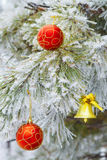Bell na árvore da neve - fundo Imagem de Stock
