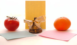 Bell notes  different vegetables fruits many objects. Bell notes with different vegetables and fruits, many objects Stock Photography