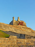 Bell and observation towers on top of San Felipe de Barajas fortress in Cartagena, Colombia. Royalty Free Stock Photo