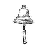 Bell od żeglowanie statku odosobnionego białego tła Wektorowy rocznika rytownictwo Fotografia Royalty Free