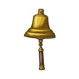 Bell od żeglowanie statku odosobnionego białego tła Wektorowy rocznika rytownictwo Zdjęcie Royalty Free