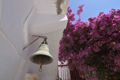 Bell Of The Panagia Tourliani Monastery In Ano Mera On The Island Of Mykonos. Architecture Landscapes Travels Cruises. royalty free stock images