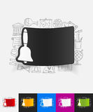 Bell paper sticker with hand drawn elements Stock Images