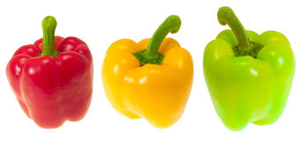 Bell pepper. The bell pepper, as traffic lights. On a white background Stock Photography