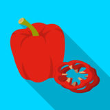 Bell pepper.BBQ single icon in flat style vector symbol stock illustration web. Royalty Free Stock Photography