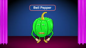1 Bell Pepper Cartoon-On Stage-Speaks Intro stock video footage