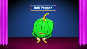1 Bell Pepper Cartoon-On Stage-Speaks Recipes stock video footage