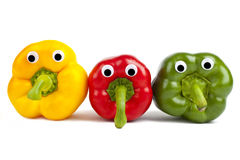 Bell Pepper Characters. Over a white background Stock Photography