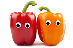 Bell Pepper Characters. Over a white background Stock Image