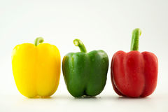 Bell pepper,3 colors capsicum or sweet pepper on white backgroun Stock Image