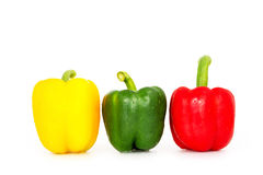 Bell pepper,3 colors capsicum or sweet pepper on white backgroun Stock Photography
