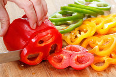 Bell pepper on cutting board. Set of bell pepper on cutting board Stock Photography